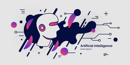 Illustration pour Artifical intelligence, conceptual poster. The analytical system. Vector illustration - image libre de droit