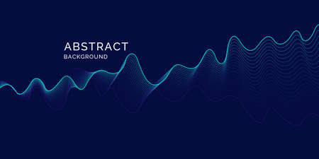 Ilustración de Vector abstract background with dynamic waves, line and particles. Illustration suitable for design - Imagen libre de derechos