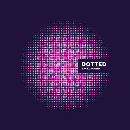 Ilustración de Dotted background, template for design. Geometric objects of different colors and sizes. Vector illustration - Imagen libre de derechos