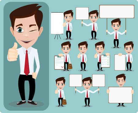 Illustration for Collection of office worker with posters - Royalty Free Image