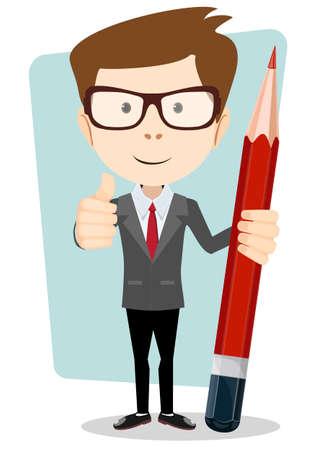 Illustration pour Teacher with a pencil to correct and study, vector illustration - image libre de droit