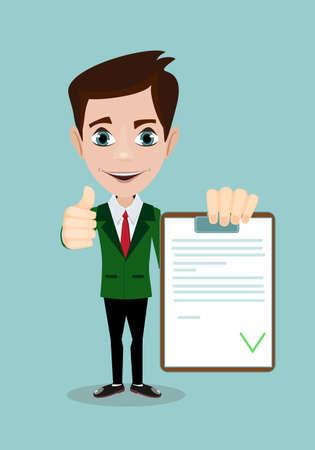 Illustration pour man with a questionnaire . good exam results paper sheet , quiz form idea, interview assessment illustration - image libre de droit