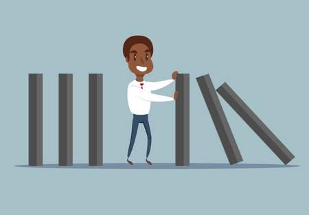 Ilustración de black african american businessman stopping falling domino. - Imagen libre de derechos
