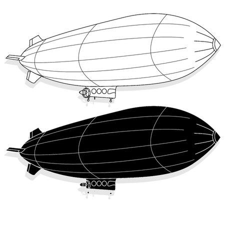 Illustration pour Vintage airship. Dirigible balloon. Vector illustration isolated. - image libre de droit