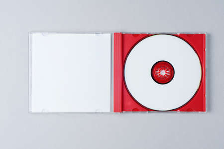 Photo pour Blank CD on gray background. Mockup for branding - image libre de droit