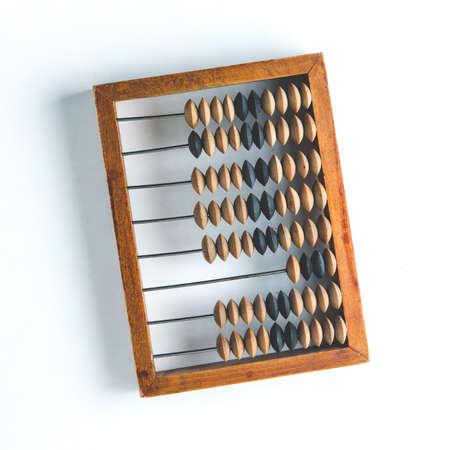 Foto de Old wooden abacus on white background - Imagen libre de derechos