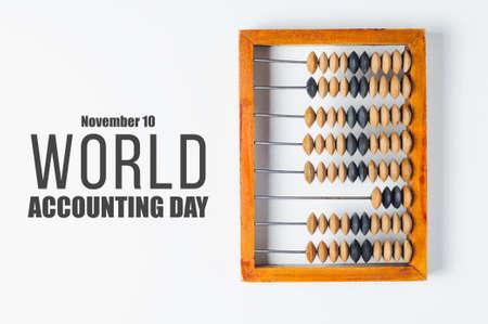 Foto de Old wooden abacus and text - Imagen libre de derechos