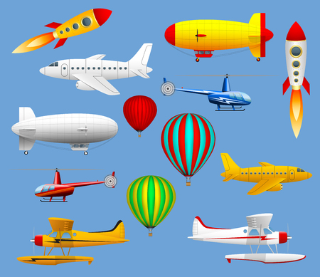 Illustration pour Set of different types of air transport. Airplanes, helicopters, balloons and zeppelins. - image libre de droit
