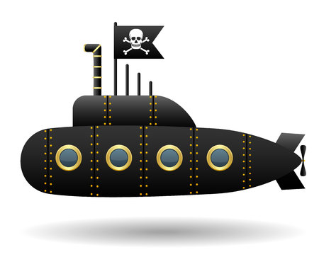 Illustration pour Black pirate submarine. Jolly Roger flag. White background. Cartoon style. Isolated object. Vector Image. - image libre de droit