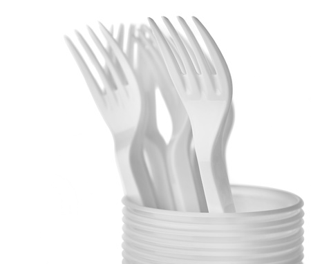 Plastic Forks on White Background