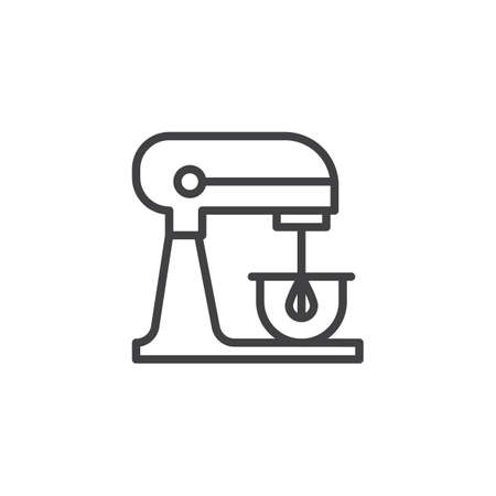 Illustration pour Electric stand mixer line icon, outline vector sign, linear style pictogram isolated on white.  Editable stroke - image libre de droit