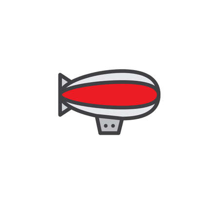 Illustration pour Airship zeppelin filled outline icon, line vector sign, linear colorful pictogram isolated on white. Dirigible air balloon symbol illustration. Pixel perfect vector graphics - image libre de droit