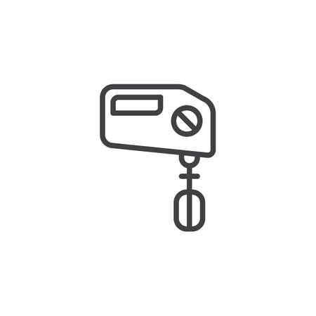Illustration pour Hand mixer outline icon. linear style sign for mobile concept and web design. Beater simple line vector icon. - image libre de droit