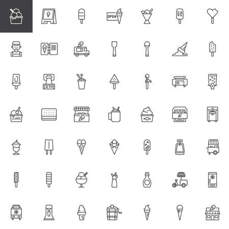 Illustration pour Ice cream shop outline icons set. linear style symbols collection, line signs pack. vector graphics. Set includes icons as Popsicle stick, Sorbet, Clerk, Menu, Scoop, Waffle iron, Syrup bottle, Stall - image libre de droit
