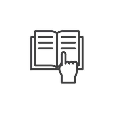 Ilustración de Reading book outline icon. linear style sign for mobile concept and web design. Hand tracing text with finger simple line vector icon. - Imagen libre de derechos