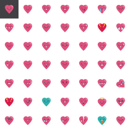 Heart emoji elements collection, flat icons set, Colorful symbols pack contains - Smile emoticon, Happy face smiley, Grinning Face character. Vector illustration. Flat style design