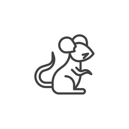 Ilustración de Chinese zodiac Rat line icon. linear style sign for mobile concept and web design. Chinese year of rat outline vector icon. Symbol, logo illustration. Pixel perfect vector graphics - Imagen libre de derechos