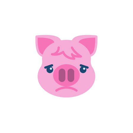 Slightly Frowning Piggy Face Emoji flat icon, vector sign, colorful pictogram isolated on white. Pink pig head emoticon, new year symbol, logo illustration. Flat style design