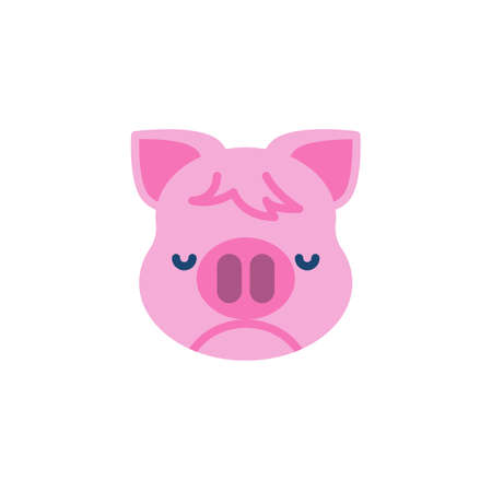 Piggy Nauseated Face Emoji flat icon, vector sign, colorful pictogram isolated on white. Pink pig head emoticon, new year symbol, logo illustration. Flat style design