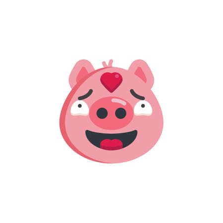 Piggy in love face emoticon flat icon, vector sign, colorful pictogram isolated on white. Piggy face emoji with heart symbol, logo illustration. Flat style design