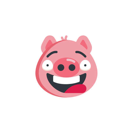 Piggy funny face emoticon flat icon, vector sign, colorful pictogram isolated on white. Happy piggy face emoji symbol, logo illustration. Flat style design