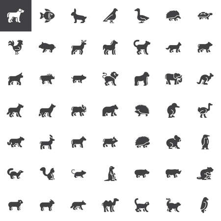 Illustrazione per Animals side view vector icons set, modern solid symbol collection, filled style pictogram pack. Signs, logo illustration. Set includes icons as animal, fox, zoo, wild, bear, elephant, forest, monkey - Immagini Royalty Free