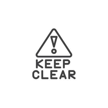 Ilustración de Keep clear exclamation point line icon. linear style sign for mobile concept and web design. outline vector icon. Information mandatory symbol, logo illustration. Pixel perfect vector graphics - Imagen libre de derechos