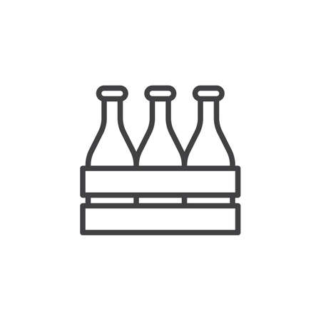 Illustration for Beer bottle wooden box line icon. Alcohol drink crate linear style sign for mobile concept and web design. Case of beer outline vector icon. Symbol, logo illustration. Pixel perfect vector graphics - Royalty Free Image