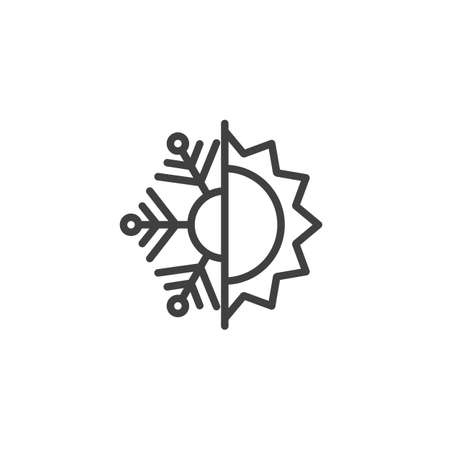 Illustration pour Thermal and cold resistant line icon. Snowflake and sun linear style sign for mobile concept and web design. Heat and frost insulation outline vector icon. Symbol, illustration. Vector graphics - image libre de droit
