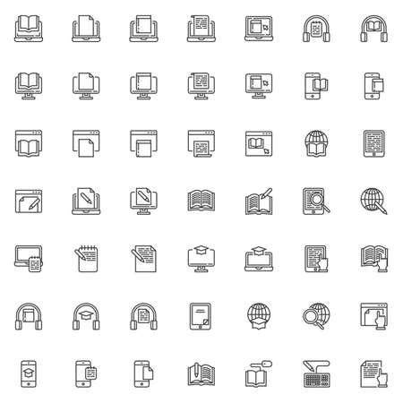 Illustration pour E-learning line icons set. linear style symbols collection, outline signs pack. vector graphics. Set includes icons as online bookstore, e-book reader, education, reading book, writing document, globe - image libre de droit