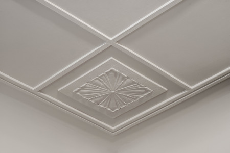 Photo for Tracery on white plasterboard. Geometry and flower ornament. - Royalty Free Image