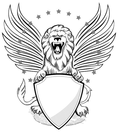 Roaring Winged Lion with Shield Insignia
