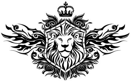 Lion On Shield Insignia