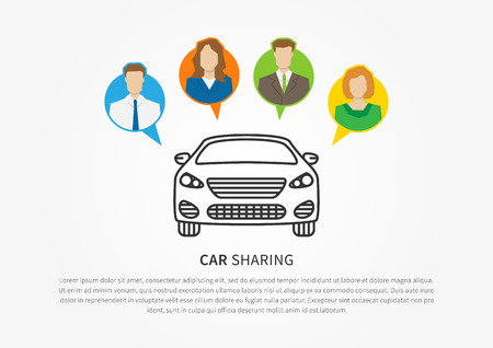 Illustration pour Car sharing vector illustration. Car to share linear graphic design. Transport renting service creative concept. - image libre de droit