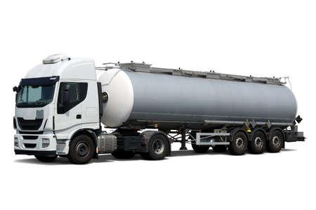 Photo pour Fuel Tanker Truck  isolated on white - image libre de droit