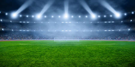 Foto de Soccer stadium with illumination, green grass and night  blurred sky - Imagen libre de derechos