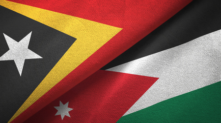 East Timor and Jordan two flags textile cloth, fabric texture