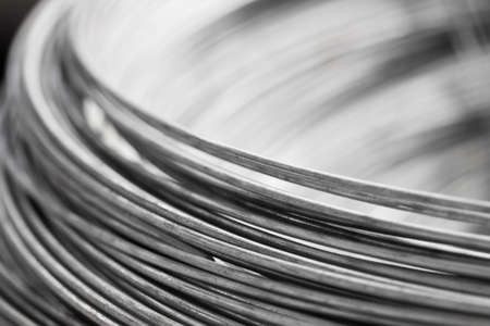 Foto de close up a roll of steel wire - Imagen libre de derechos