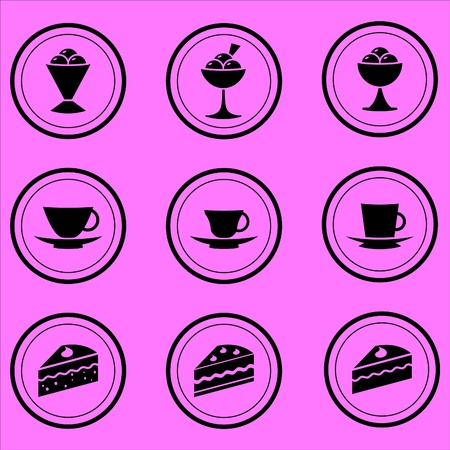 coffee house icons of desserts, tea and coffee