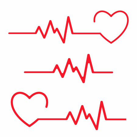 Ilustración de Set of cardiogram design elements. Heartbeat line isolated on white background. Vector - Imagen libre de derechos