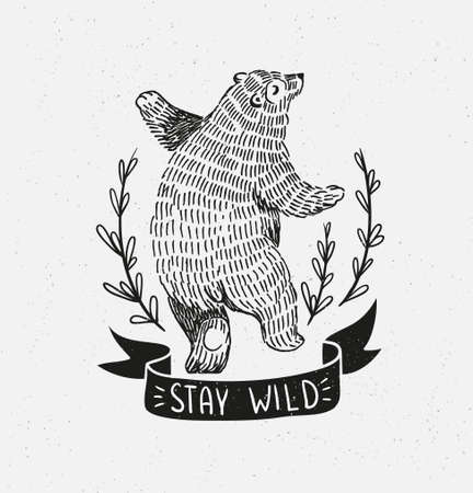 Ilustración de Hand drawn dancing bear. Vector sketch illustration with stylish lettering stay wild - Imagen libre de derechos