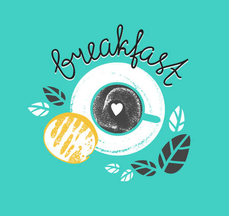Illustration pour Vintage Breakfast Poster with cup of coffee and toast. Vector illustration with stylish lettering - Breakfast. - image libre de droit