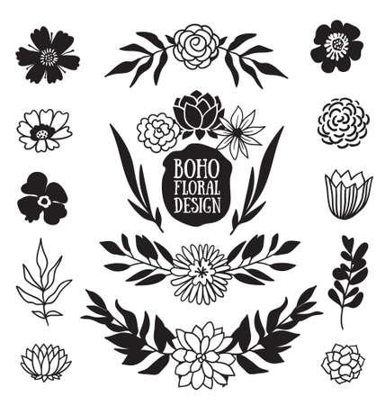 Illustration pour Boho black decorative plants and flowers collection. Hand drawn vector design elements. - image libre de droit