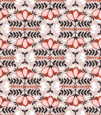 Ilustración de Vector seamless background with wild roses, vintage style. Hand drawn fabric design. Stylish bright floral seamless pattern. - Imagen libre de derechos