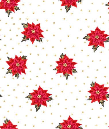 Ilustración de Seamless Christmas background with red poinsettias and gold beads. Vector illustration. Floral fabric design. - Imagen libre de derechos