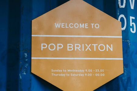 Photo for London, UK - July 16, 2019: Welcome sign at Pop Brixton, event venue and the home of a community of independent retailers, restaurants, street food startups and social enterprises. - Royalty Free Image
