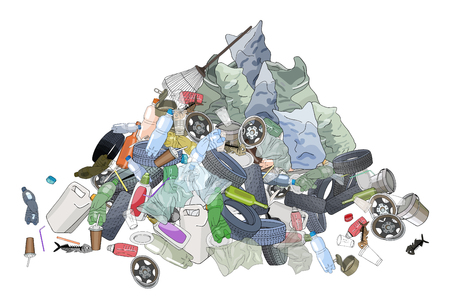 Illustration pour Pile of garbage, trash bags and rake. The concept of ecology and World Cleanup Day. - image libre de droit