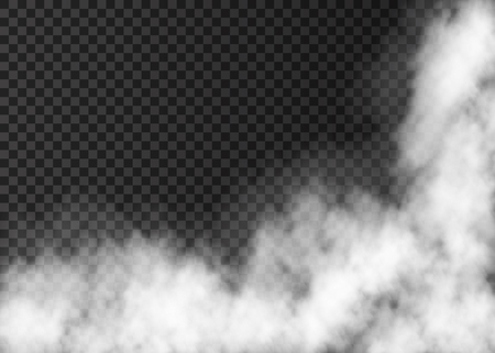 Illustration for Fire smoke  or mist texture. White  realistic  vector fog isolated on transparent background.  Steam special effect. - Royalty Free Image