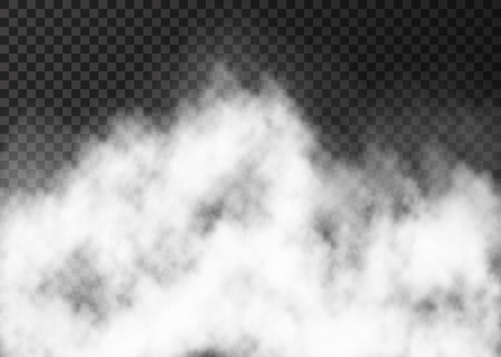 Illustration for White fire smoke or  fog isolated on transparent background.  Steam special effect.  Realistic  vector mist texture. - Royalty Free Image