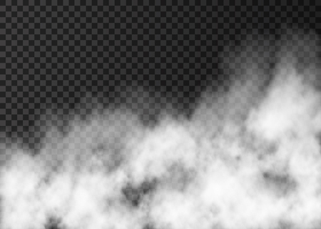 Illustration pour White fog texture isolated on transparent background.  Steam special effect.  Realistic  vector fire smoke  or mist.  - image libre de droit